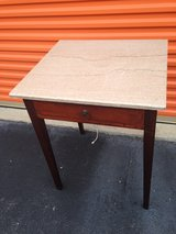 Mahogany Table w/ Drawer Marble Top in Cherry Point, North Carolina
