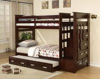 **Kasper's Espresso Twin/Twin Bunk Bed w Storage Staircase and Trundle in San Clemente, California