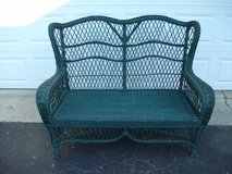 WHICKER LOVE SEAT GREEN(REDUCED TO SELL) in Naperville, Illinois