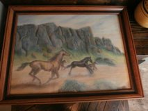 Vintage wild mustangs pastels painting/picture in Cleveland, Texas