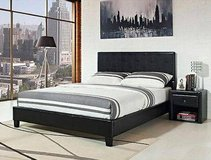 Stratus Faux Leather Platform King Bed (Black) - NEW! in Naperville, Illinois