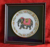 Rajasthan India  handcrafted elefant  plate framed in Joliet, Illinois