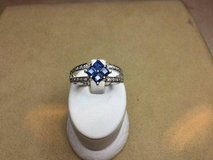 18kt white gold custom blue sapphire and diamond ring in Camp Pendleton, California