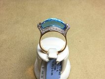 18 kt yellow gold custom blue topaz diamond cocktail ring in Camp Pendleton, California