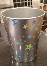 Wastebasket - Silver with Green and Blue Star Design in Orland Park, Illinois