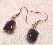 gold tone drop dangle irracdescent bead purple blue earrings in Houston, Texas