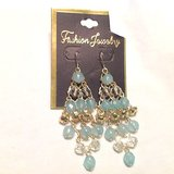 "nwt blue teal green chandelier gold tone bead earrings 3"" hook in Kingwood, Texas"