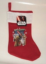 New disney star wars RED 16 in christmas stocking yoda c3po r2d2 darth vader in Yorkville, Illinois