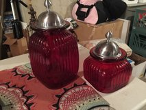 2 Red Glass Canisters, Stainless Steel Lids...Mint!! in Sugar Grove, Illinois