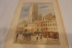 """original water color of caen, france, chruch of st. jean 20"""" x 16"""" in Houston, Texas"""