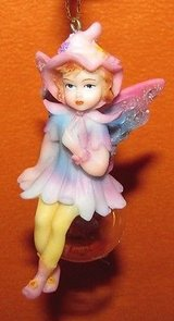 fairy sitting on a bubble ornament hanging hat wings pink blue cute new in box in Tacoma, Washington
