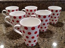 Crate and Barrel Mugs - White with Red Polka Dots -Set of 6 -New in Aurora, Illinois