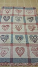 Vintage heart designed fringed throw by MWW in Camp Pendleton, California