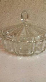 A Vintage Old Cafe heavy crystal candy dish with lid in Vista, California