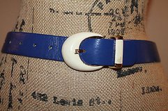 Vintage Royal Blue Belt w/Ivory & Gold Buckle, 33 in Long in Aurora, Illinois