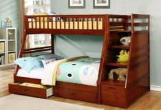 Huckleberry's Walnut Twin Full Bunk Bed w/Staircase andTrundle Drawers in San Clemente, California