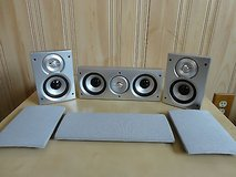 silvery 2.1 surround stereo sound  speakers---(1 center +2 front speaker ) in Bolingbrook, Illinois