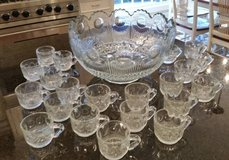 Punch Bowl and 24 Cups, Circle Dot Pressed Glass Pattern in Westmont, Illinois