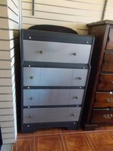 Chest of Drawers-black and silver in Fort Leonard Wood, Missouri