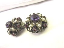 vintage silver tone clip on purple filagree large cluster faux pearl w germany in Kingwood, Texas