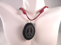red cord adjustable peace sign black stone necklace fashion in Kingwood, Texas