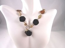 """gold tone black tiger brown bead necklace fashion 18"""" in Kingwood, Texas"""