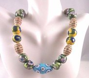 """flower floral enamel bead blue green brown 18"""" country necklace fashion in Houston, Texas"""