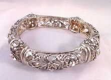 silver tone filagree flower floral stretch faux diamond antiqued bracelet in Kingwood, Texas