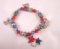 july 4th fourth red white blue silver tone stretch holiday bracelet usa fashion in Kingwood, Texas