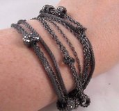 black crystal beads chain swarovski pewter color gray multi stand bracelet in Houston, Texas