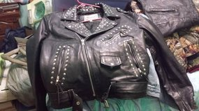 Studded Leather Motorcycle Jacket sz 44 in Houston, Texas