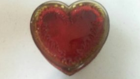 Vintage heart shaped glass trinket box in Vista, California