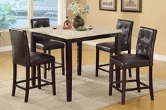 Counter Height Dining Table Marble Finish + Chairs Set FREE DELIVERY in Miramar, California