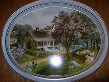 nice currier & ives american homestead spring collector  metal tin plate tray in Orland Park, Illinois