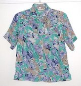 Alfred Dunner Elastic Waist Button Down Floral Pussy Bow Bloue Womens 12 in Morris, Illinois
