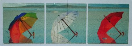 Vacationing Umbrellas 3 Piece Photographic Print on Canvas Set in Tomball, Texas