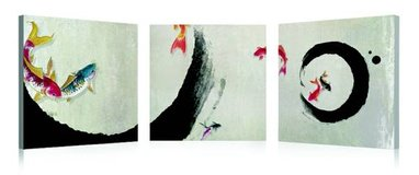 Koi Fish Calligraphy 3 Piece Photographic Print on Canvas Set in Tomball, Texas