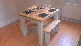 ## handmade chunky pine wooden rustic farmhouse dining table, 6 seater, oak ## in Lakenheath, UK