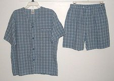 Covington Blue Plaid 2 Pc Pajama Set Medium Boxers Short S/S Button Down Shirt in Joliet, Illinois