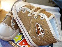 toddler canvas-high top tennis shoes-light brown-laces-new in box in Yucca Valley, California