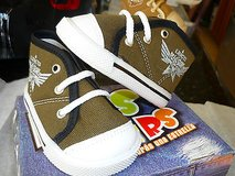toddler canvas-high top-tennis shoes-military green-new in box in Yucca Valley, California