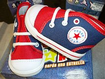 toddler canvas high top tennis shoes-laces-new in box-red/white/blue in Yucca Valley, California