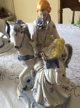 Victorian statue - horse/ w couple Blue and White in Warner Robins, Georgia
