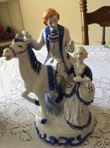 Victorian statue with horse (Blue and White) in Macon, Georgia