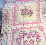 "purple hearts love pink rose flower floral 44"" 2yds  cotton blend fabric quilt in Kingwood, Texas"