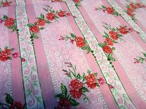 "pink rose flower floral 44"" 1.5yds cotton blend fabric quilt dress sew in Houston, Texas"