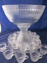 HEISEY GLASS Banded Flute Clear Punch Bowl Underplate 16 Cups Depressi in Batavia, Illinois
