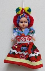 ** Hungarian traditional Matyo doll in costume in Katy, Texas