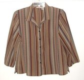 Alia Petites Multi-Color Chevron Button Down Blouse Womens sz 14 in Morris, Illinois