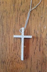 Silver Cross Necklace with Rhinestones on a sterling silver necklace in Chicago, Illinois